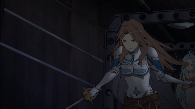 Katalina from the front, pulling Lyria behind her, about to attack.