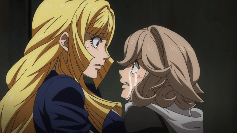Kudelia faces a crying Atra, looking surprised.