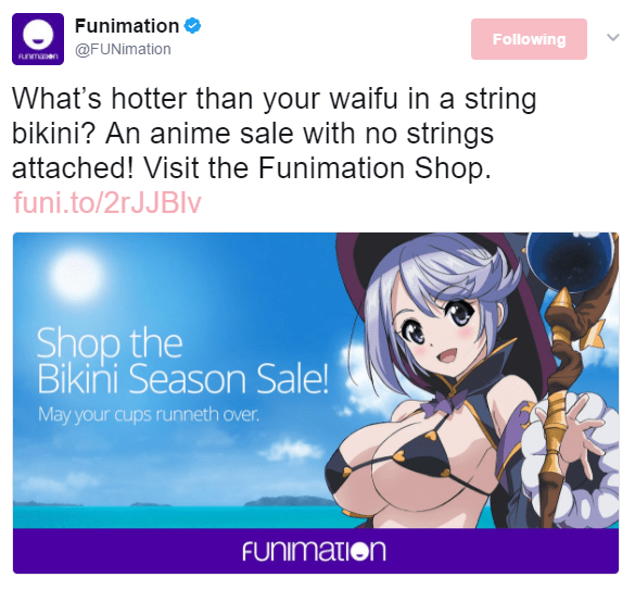 "Image of an anime girl in an ill-fitting string bikini just covering the nipples on her large breasts. She is also wearing a witch's hat, a collar and sleeves, holding a magical staff. Text on the background: ""Shop the Bikini Season Sale! May your cups runneth over."" Underneath is the Funimation logo."