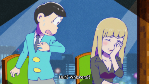 """One of the Osomatsu brothers jumps back from an upset woman covering her face. Subtitle: """"Huh? Whiskers?!"""""""