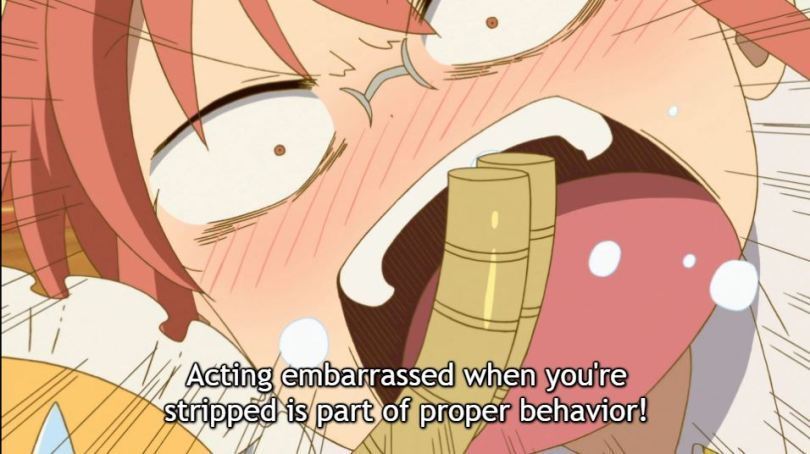 "A close-up of a woman in glasses yelling at a woman with horns. Subtitles: ""Acting embarrassed when you're stripped is part of proper behavior!"""