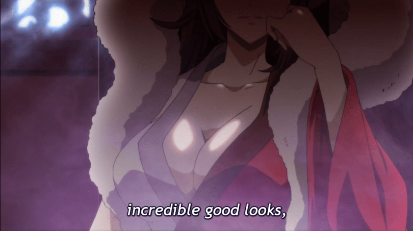 "The mature fox spirit rests her head on her hand, the camera focused on her large breasts barely covered by her robes. Subtitle: ""Incredible good looks"""