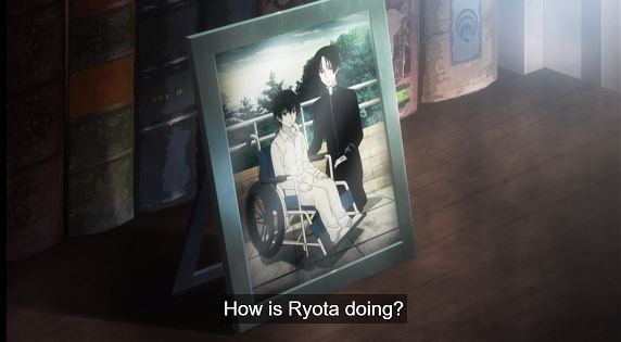 A picture of Hiraga and his wheelchair-bound brother. Dialogue: How is Ryota doing?