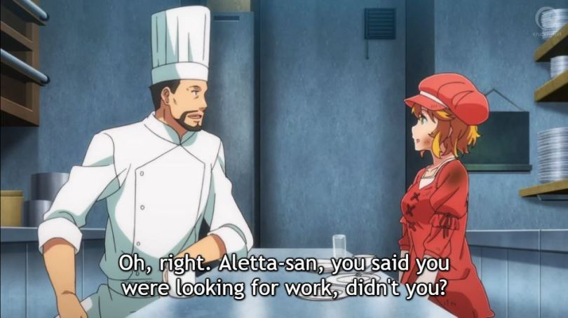"Aletta is offered a job. ""Oh right, Aletta-san, you said you were looking for work, didn't you?"""