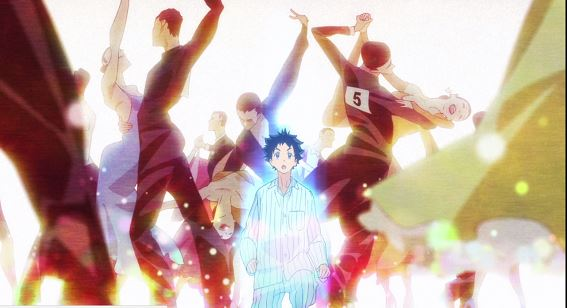 In a dreamlike sequence, a boy in pajamas is surrounded by brightly colored dancers