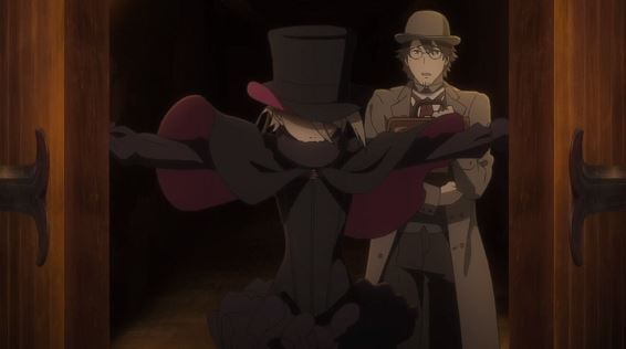 A woman in a black cloak and top hat throws open a set of double doors, her face in shadow