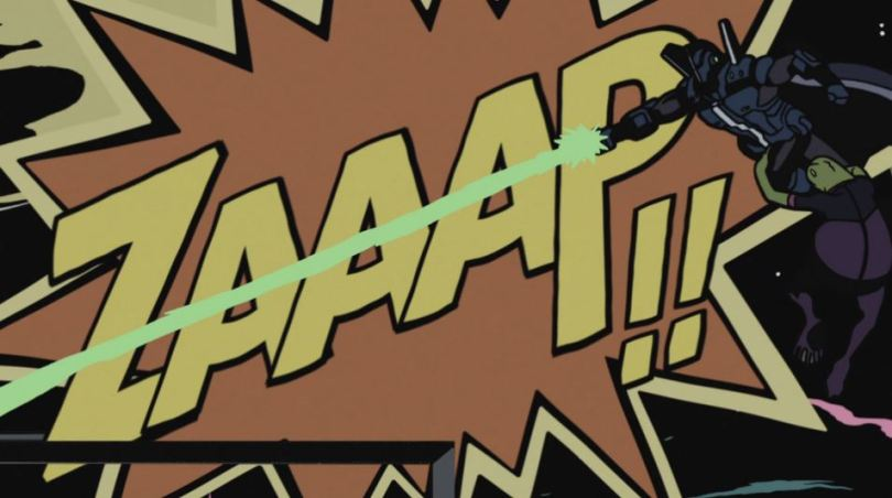 A mech-suited hero fires off an arm canon in front of an LCD display with a comicbook style ZAAAP sound effect on it