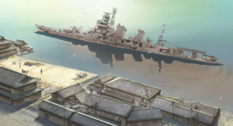 Long shot: A battleship lays half-sunk in the water next to the shoreline, where kids are skipping rope