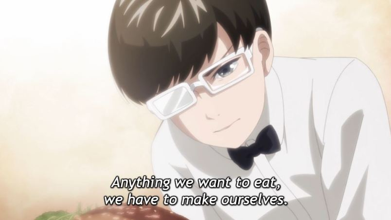 Young Narita frowns as he stares at a piece of expensive meat. Subtitle: Anything we want to eat, we have to make ourselves.