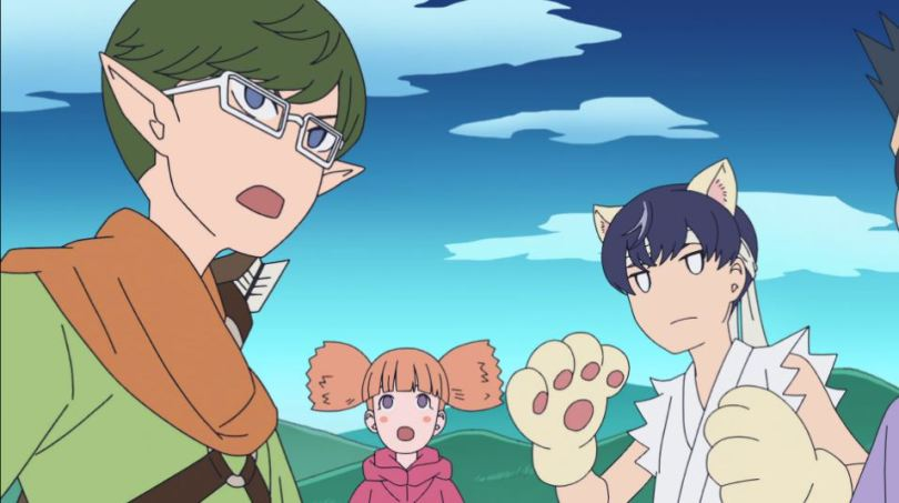 Narita, Aoyama, and their MMORPG teammate stare toward the camera in shock. Aoyama has cat paws and a fighting gi. Narita is dressed as a ranger.