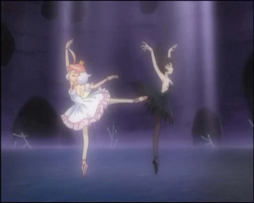 Two ballerinas, one in white and one in black, dance en pointe facing opposite directions