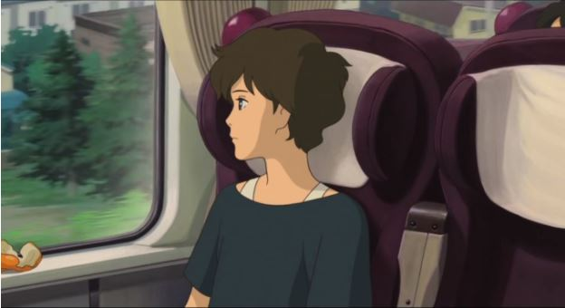 a young woman with short hair stares out the window of a bus