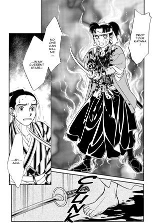 "Manga page: A blood-soaked girl in hakama holds out a katana and says ""Drop your katana! No one can kill me in my current state."" In the bottom panel, the man's sword hits the ground."