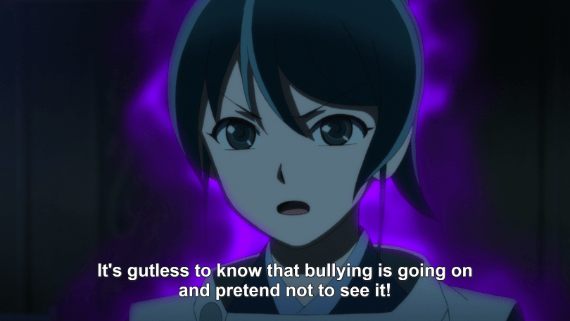 """A close-up of a young woman in front of a purple-and-black, smoky background. Subtitle: """"It's gutless to know bullying is going on and pretend not to see it!"""""""