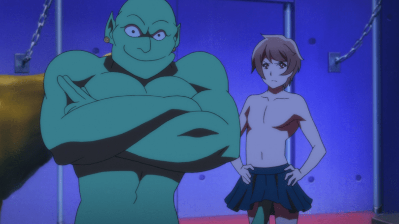 A shirtless haruto with his hands on his hips; a genie in the foreground has emerged from under Haruto's skirt