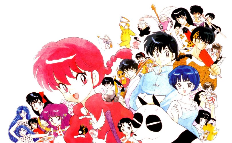 A group poster. In the foreground is a girl with a braid wearing traditional Chinese martial arts clothes. Behind her are over a dozen characters, most notably a boy with a braid, a girl with her hair pulled back wearing a modern dress, a panda, and a boy with a tiger-print headband