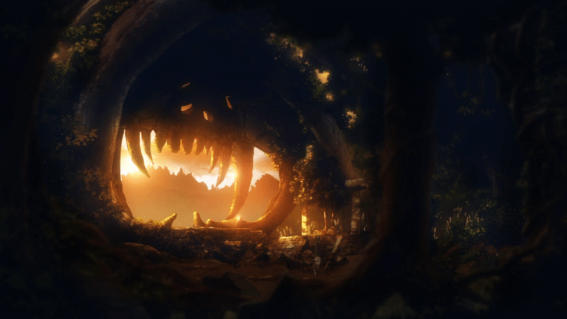 The inside of a cave at sunset. The sun's glow is coming through the cave's mouth, which appears to have fanged teeth. In the shadows, dimly, is a figure exercising.
