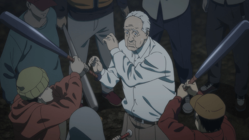 A group of teenagers wearing hoodies hold up baseball bats at an older man, who stands at the center of the group, his hands held up as if to shield his face.