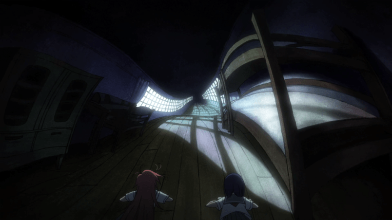 A distorted, warped hallway lined with furniture. Cocona and Papika have fallen down at the entrance to it in their attempt to escape