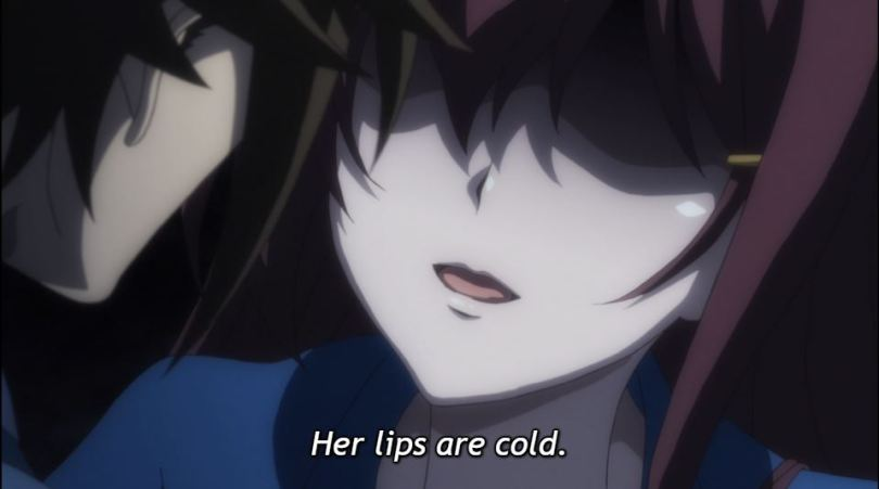 a girl's face with the eyes obscured. subtitle: her lips are cold