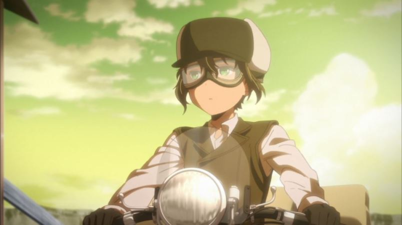 A young person in travel gear riding a motorcycle