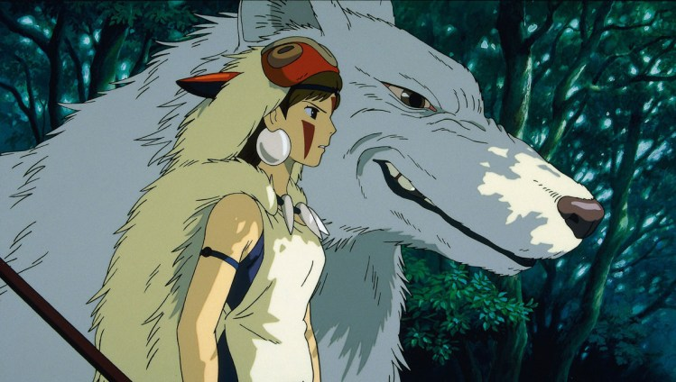 San, wearing her wolf pelt and looking intent, stands beside a giant wolf. its head is as large as her whole upper body