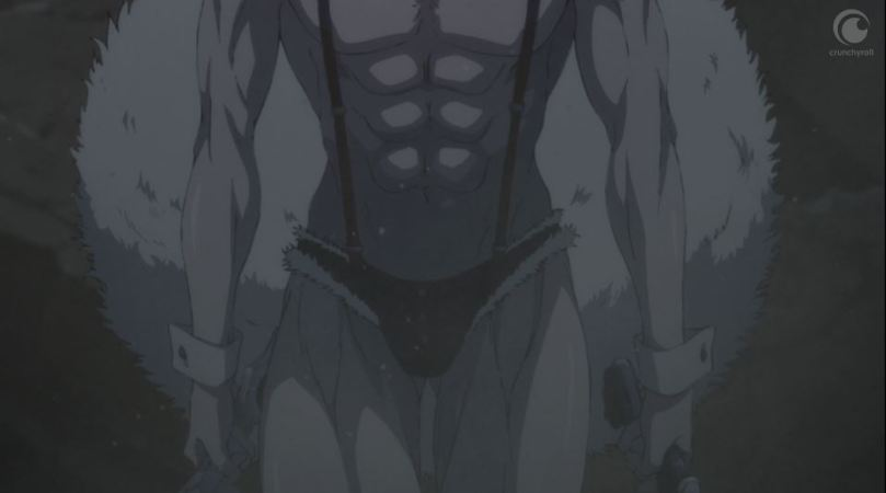 a stomach-level shot of the bunny man's abs, suspenders, and furry thong
