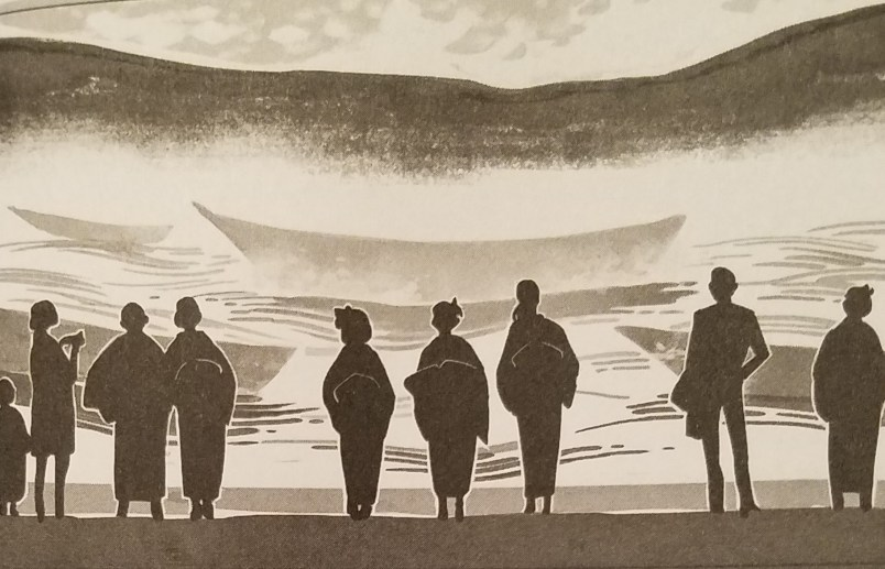 A gray-scale illustration of eight adults and one child shown in profile from behind as they look out at a boat on a river. The woman appear to be wearing yukata, while the men are in more modern clothing.
