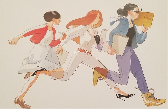 Three women in profile running in the same direction. The first is wearing casual clothes and carrying posterboard and a manila folder; the second is dressed in a sharp business suit and holding a phone; the third is in a nice dress and holding a pen