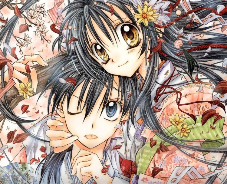 A mid-range shot of a teenage girl with long hair wearing a kimono. She's hugging a teen boy around his shoulders and neck and has her head set lightly atop his. The boy is winking and sticking out his tongue slightly. The two are surrounded by flower petals.
