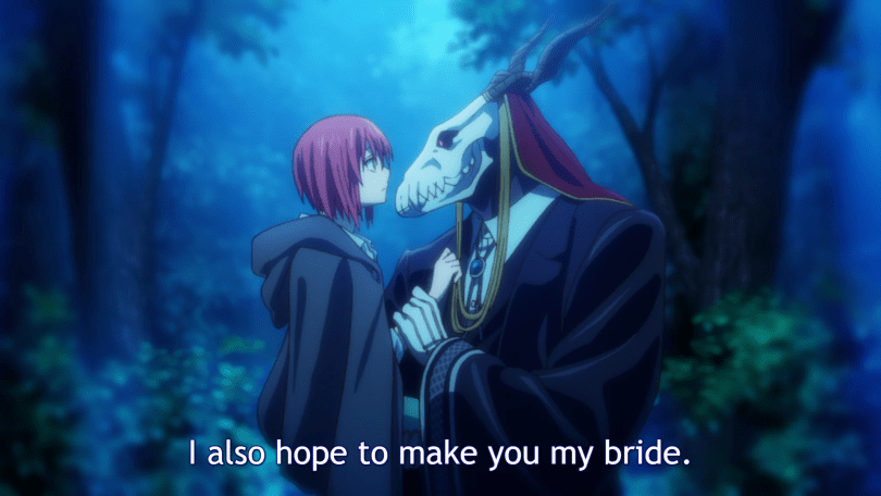 A girl in a cloak looks at a masculine figure with a horned skull for a head. He his lightly holding her wrist and appears to be carrying her. Subtitle: