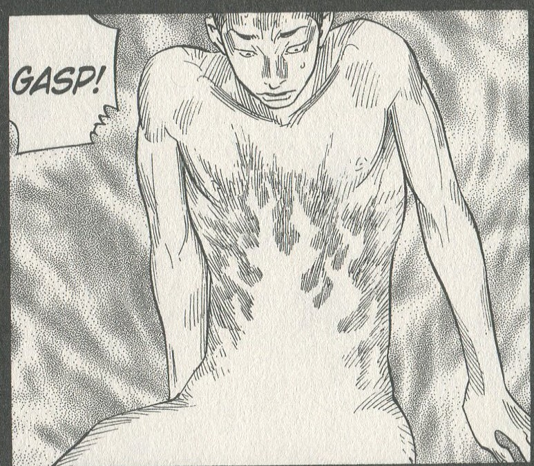image spot of Takahashi naked, feeling fire radiate up from the pain in his legs. dialogue: gasp!