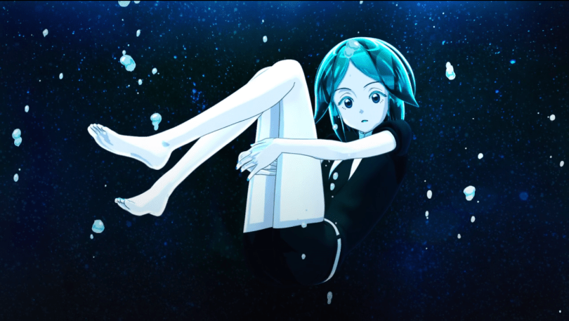 a green haired figure floating in space/underwater, with their arms wrapped around their legs and their knees drawn up level with their heads