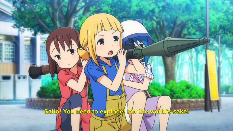 "Three young girls wearing casual clothes hold a rocket launcher, pointing it at someone off-screen. Subtitles: ""Saito! You need to explode! For the world's sake!"""