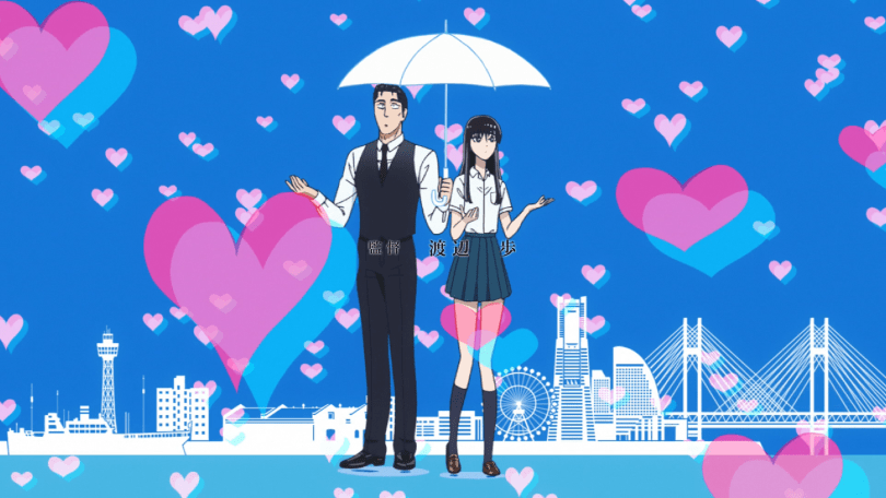 An older man in a suit and a teen girl in a school uniform stand under an umbrella together as hearts fall around them.