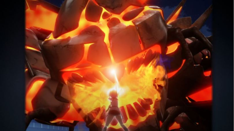 a schoolgirl holding a glowing sword up to stop a giant lava monster