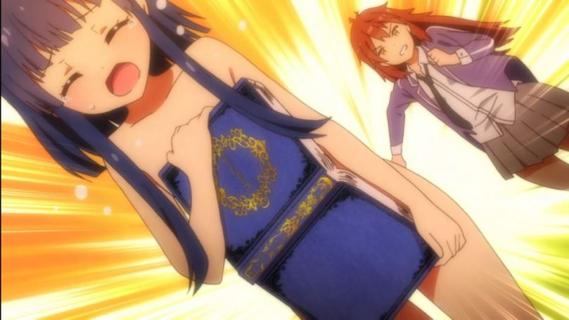 Hazuki running from a redheaded girl, using a large open book to cover her naked body