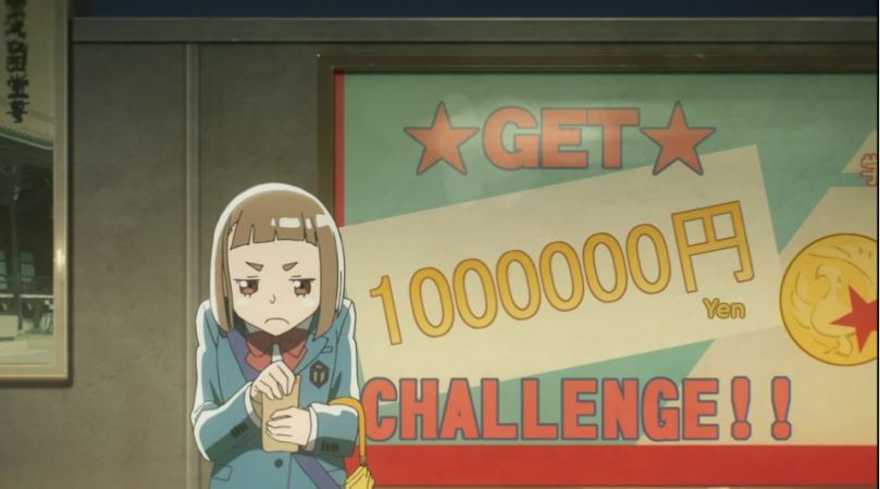 """A furtive-looking Mari holding a packet of money with a big ad for the """"GET ONE MILLION YEN CHALLENGE"""" in the background"""