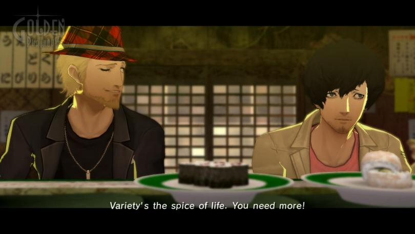 Vincent and Orlando talking at a sushi bar. Caption: Variety's the spice of life. You need more!