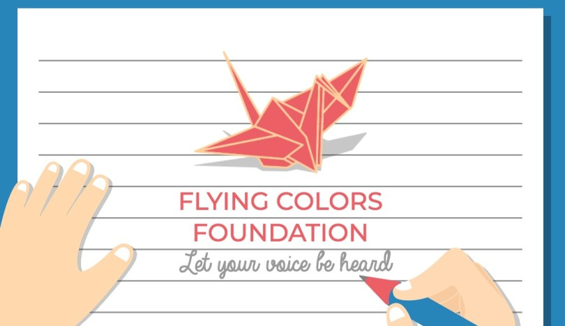 "The logo for Flying Colors Foundation, which features a red origami crane about the organization's name and the slogan ""Let your voice be heard."""