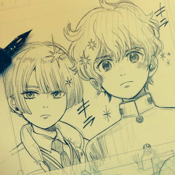 Work-in-progress drawing for Shounen Note.