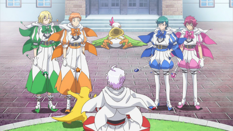 A wide shot of multiple people. In the foreground, a teen boy in a white-and-red magical knight outfit sits next to a yellow otter, and the two face four other teen boys in similar costumes. Behind them, lying morose on the ground, is a bird-like monster with a horn for mouth.