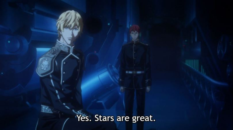 Reinhard looking out the window while Siegfried observes him. Caption: Yes. Stars are great.