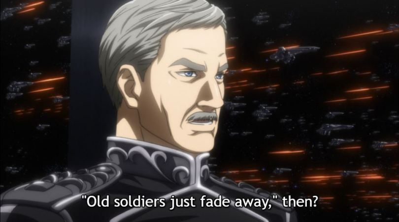 """Close up a commander. caption: """"Old soldiers just fade away,"""" then?"""