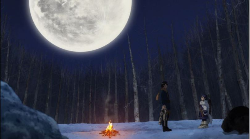 Sugimoto and Asirpa facing one another under the moon
