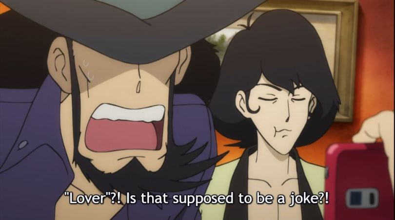 Jigen shouting at the phone. caption: Lovers? Is that supposed to be a joke?