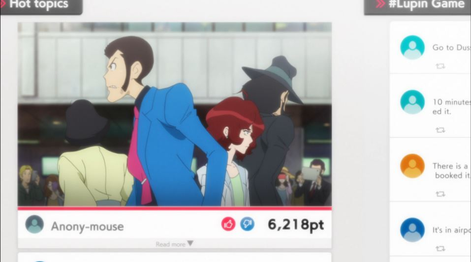 Lupin, Jigen and Ami on a screenshot of a youtube video