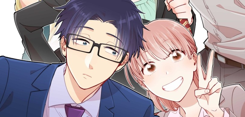 """A young woman and a young man, both wearing business suits, lean in together in the center of the frame. The young man is wearing glasses and looks sleepy; the woman is grinning and flashing a """"victory"""" sign."""