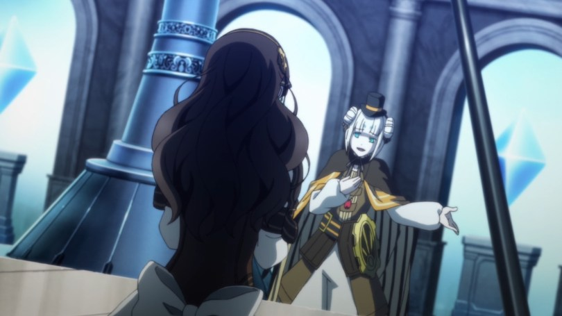 A white-haired boy in gaudy Victorian steampunk clothes puts one hand to his chest and holds out the other beseechingly. In the foreground, back to the camera, Cardia stands in her dress.