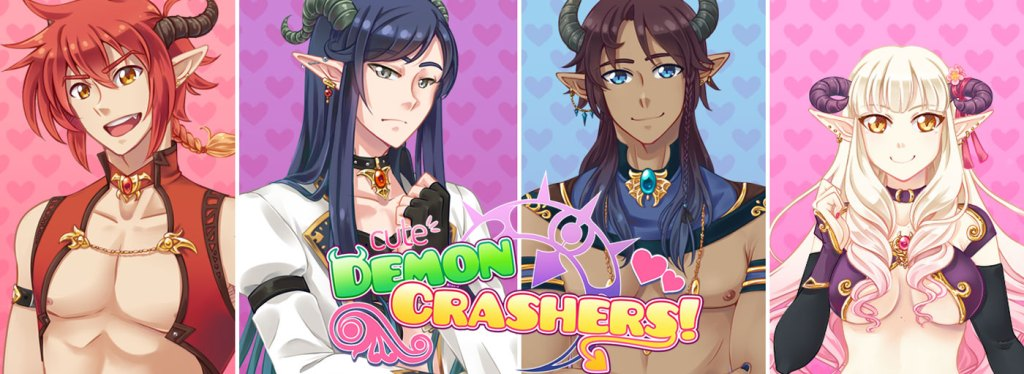 "A title card for ""Cute Demon Crashers"" featuring four panels, each holding a head-shot of the three incubi and the succubi."